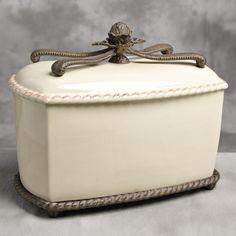 Bread Box w/ Metal Base-Cream Ceramic Bread Box, Ceramic Boxes, Natural Stone Countertops, Vintage Bread Boxes, Barcelona, Cake Carrier, World Decor, Bread Bin, Bread Cake