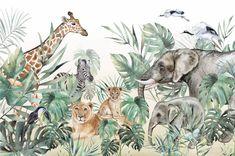 Safari Wallpaper, Vector Pattern, Jungle Wallpaper for children with animals, Tropical, Wall Decor, Nursery, Lion, Elephant, Giraffe