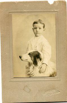 c1900 Boy with Collie Dog Mounted Cabinet Photograph Nazareth Pennsylvania