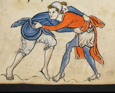 """Detail from """"The Rutland Psalter"""", medieval British Library Add MS f Looks like they're playing a wrestling game Medieval Games, Medieval Costume, Medieval World, Medieval Art, History Medieval, Renaissance Art, Medieval Fashion, Medieval Clothing, Medieval Manuscript"""