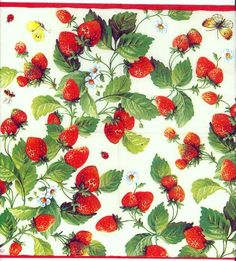 Your place to buy and sell all things handmade Decoupage Glass, Paper Napkins For Decoupage, Strawberry Background, Strawberry Art, 80s Theme, Party Napkins, Wallpaper, Paper Art, Cute Pictures