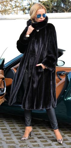 Long black mink coat