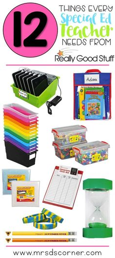 12 Things Every SPED Teacher Needs from ReallyGoodStuff is part of Sped classroom - 12 items every special education teacher needs from Really Good Stuff, like bins for organization, clipboards for data, and more! See the list here Teacher Hacks, Teacher Supplies, Classroom Supplies, Teacher Organization, Teacher Stuff, School Supplies, Organized Teacher, Classroom Tools, Life Skills Classroom