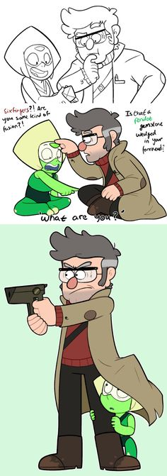 Aw this is cute, Peridot: Steven Universe, and Ford: Gravity Falls