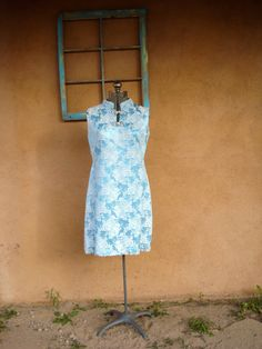 Vintage 1960s Cheongsam Dress Blue Chinoiserie by bycinbyhand