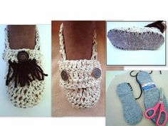 Crochet Slippers on Purchased felt insoles, CROCHET PATTERN - Pdf # 706, Make Any Size, slipper pattern - digital download, craft supplies. =============================================  SEE MORE SLIPPER PATTERNS HERE: