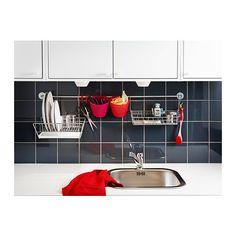 BYGEL Draadmand  - IKEABYGEL Draadmand, zilverkleur € 2.99  / st. (€ 2.47 excl. btw) Artikelnummer: 900.726.48 Kan aan de BYGEL stang worden gehangen of aan de muur, het basiselement of de binnenkant van het keukendeurtje. Meer lezen Afmeting 33x10 cm