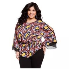 Ashley Stewart Cold Shoulder Aztec Blouse This is a super cute Ashley Steward Brand Women's Plus Size Blouse. Purchased Brand New, and only used one time. Still in GREAT condition!  Plus Size, 14/16, Aztec Print.  Flattering and feminine look.  Machine washable warm water.  Feel free to ask any questions  Ships Immediately!   Ashley Stewart Women's Plus Size Aztec Cold Shoulder Blouse Langouste 14/16 Plus Ashley Stewart Tops Blouses