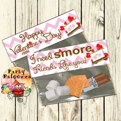 Printable Valentine's Day Treat Bag Topper/ Smore by PartyPaloozza