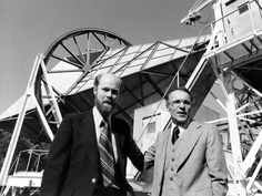 Robert W. Wilson (left) and Arno Penzias pose next to their antenna after winning the Nobel Prize in 1978 for discovering the Big Bang's aft...