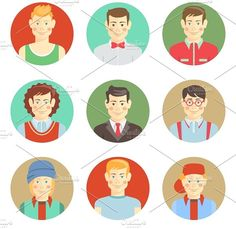 boys avatar faces in flat style by Microvector on @creativemarket