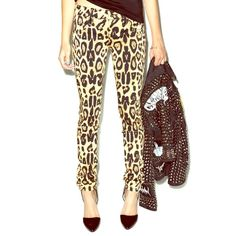 Tripp NYC Leopard Print Skinny Jeans Stretchy skinny jeans with little skulls on the rivets. Waist is 14 inches laid flat. Inseam is 30.5 inches. Color is a bit faded from normal wash and wear. Super comfortable! Tripp nyc Jeans Skinny