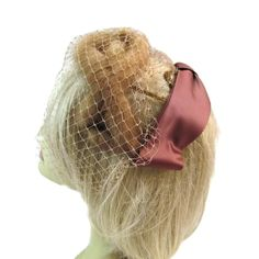 Fur Fascinator Hat with Veil 1940s Hat 40s Fascinators I Love Lucy Costume Reenactment Clothing Fall Hats For Church by WhyWeLoveThePast on Etsy