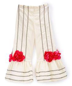 Ivory & Fuchsia Stripe Rose Flare Pants - Infant Toddler & Girls