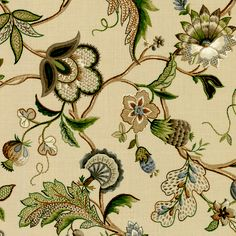 Fleur de Leaf - Natural:  This floral fabric has brown, green and gray flowers and vines on a light tan background.