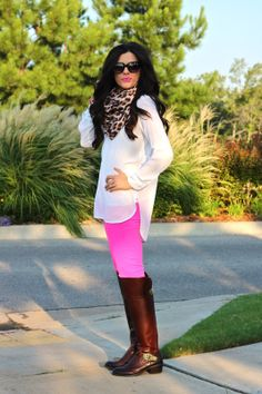 fall fashion, fall 2014 fashion, hot pink pants, white tunic, leopard print scarf, leopard scarf, cat eye sunglasses, forever 21, j.crew, h&...