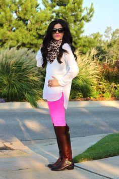 fall fashion, fall 2014 fashion, hot pink pants, white tunic, leopard print scarf, leopard scarf, cat eye sunglasses