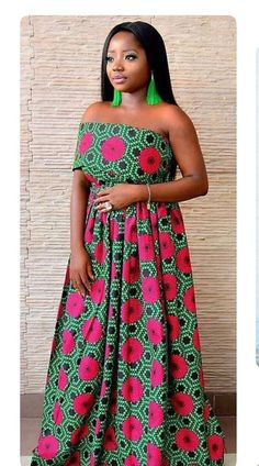 New African clothing for women/ African clothing for weddings / African prints long dress/ Ankara dress for occassions/pink and green dress at Diyanu African Fashion Designers, African Inspired Fashion, African Print Fashion, Africa Fashion, African Prints, African Fabric, African Wear, African Attire, African Women