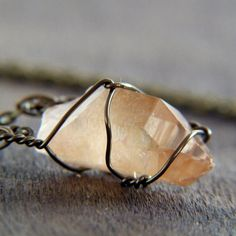 Tangerine Quartz Point Wire Wrapped Pendant by CircleofTwo on Etsy, $26.00