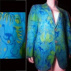 9dddf072142200 Turquoise blue and green lion head and lilly print vintage Men's stuff  blazer by Lilly Pulitzer, Palm Beach