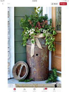 Fesselnd Weihnachtliches Zuhause, Deko Weihnachten, Milchkanne, Garten Terrasse,  Rustikal, Weihnachtsdeko Hauseingang,