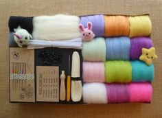 Needle felting kit - NOW with free tutorial!! - rainbow pastel - felting needles - starter kit - animal - kawaii - miniatures - merino