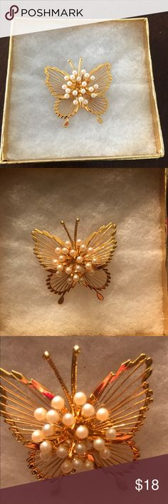 Monet butterfly pin Brilliant gold & faux pearl Monet pin. Excellent condition. Monet Jewelry Brooches