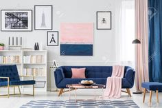 Modern Living Room Interior With Blue Sofa And Armchair, Patterned. pertaining to Blue Couch Living Room Blue And Pink Living Room, Blue Couch Living Room, Pastel Living Room, Blue Living Room Decor, Blue Rooms, Living Room Interior, Home Living Room, Living Room Designs, Pink Room