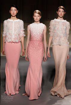 georges hobeika spring summer 2013 couture pale pink peach dresses split funnel neckline