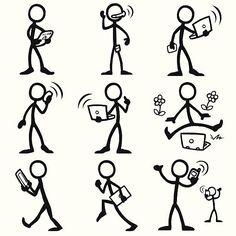 Représentation humaine en traits personnes en matière d'informatique mobile - Illustration vectorielle