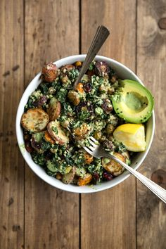 Kale and Roasted Veggie Salad with Tahini Yogurt Pesto