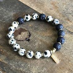 Dalmatian Jasper and Lava Stone Essential Oil Diffuser Bracelet
