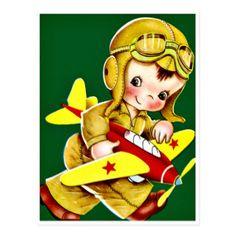 Little Boy Pilot - Retro Happy Birthday Postcard