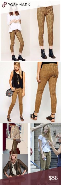 Free People Jacquard Ankle Jean Free People texturized jacquard embroidered skinny ankle jeans. Size 24. Stretchy fit. 5-pocket style. Zipper and button fly closure. As seen on Amanda Seyfried! *98% Cotton  *2% spandex. No rips/tears/stains. No Trades. All Reasonable Offers Accepted! Free People Jeans