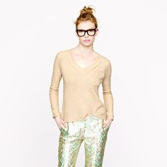 J. Crew Collection cashmere mixed-stitch sweater, hthr flax plus gilded brocade cafe capri