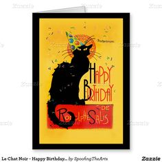 #LeChatNoir - Happy Birthday Greetings Greeting Card by #SpoofingTheArts #gravityx9 #Zazzle -