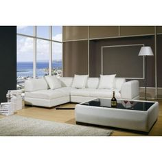 """Off-White Modern """"L"""" Shaped Leather Sectional Sofa Set w/Matching Pillow Accent & Coffee Table w/Black Top"""