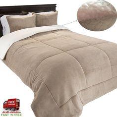 3 Pcs Comforter King Set Shams Plush Sherpa Soft Warm Taupe Bed Reversible Gift #LavishHome