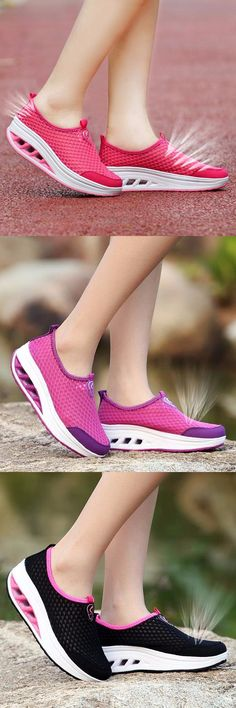 US$19.22 Mesh Breathable Pure Color Slip On Athletic Platform Casual Sport Shake Shoes