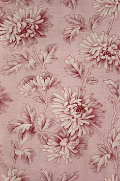 Antique French Pink Ground Fabric Printed Cotton c1890 Floral Design | eBay