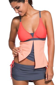 Orange Pink Colorblock 2 Pieces Tankini Skort Bottom Swimsuit Style: Two Pieces, Brief, Sexy Occasion: Summer, Beach Pattern: Color Block Decorati