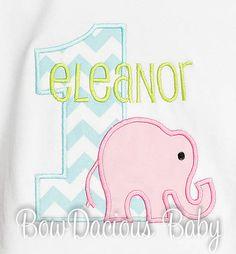 Elephant Birthday Shirt, Number, Monogrammed, Appliqued, Custom Fabric, Girls Birthday Shirt, Shirt, Tank,Bodysuit,Romper, Gift