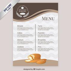 Elegant menu template bakery Free Vector