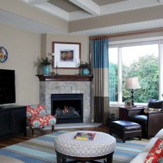 living room decor with corner fireplace. Living Room Design Ideas, Pictures, Remodels And Decor. Corner Fireplace Decor With J