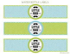 Water bottle labels at a Mustache Bash  #mustachebash #littleman #freeprintables