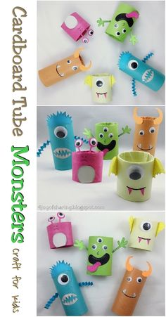 Warming up for Halloween 2017 with these cute little monsters craft. Made using cardboard tubes with my toddler. Cardboard Tube Craft, Kids Craft, Halloween Craft, Crafts for kids, Monster Craft Manualidades Halloween, Halloween Tags, Halloween Crafts For Kids, Fun Crafts For Kids, Toddler Crafts, Preschool Crafts, Diy For Kids, Activities For Kids, Craft Kids
