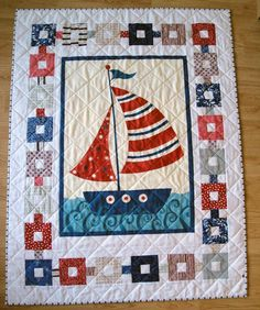 Love the border on this guy. Really love a 2 inch grid pattern on a sailboat quilt. Quilt Baby, Nautical Baby Quilt, Cot Quilt, Small Quilts, Mini Quilts, Children's Quilts, Quilting Projects, Quilting Designs, Boys Quilt Patterns