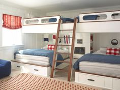 Preppy bunk room in Coastal Living Showhouse | Design by Betsy Burnham
