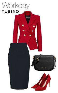 Workday black pencil skirt by tubino-skirts-dresses on Polyvore featuring mode, Balmain and MICHAEL Michael Kors