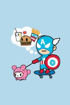 Just made 2 tokidoki marvel iphone wallpapers… Captain America